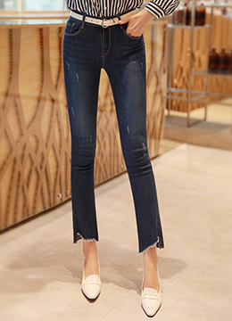 Jagged Hem Semi-Boot Cut Jeans, Styleonme