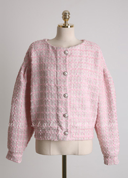 Pearl Button Puff Sleeve Tweed Jacket, Styleonme