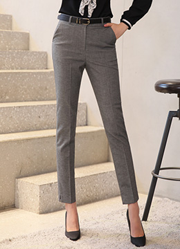 Side Slit Slim Fit Slacks, Styleonme