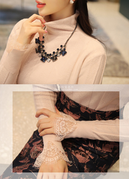 Lace Sleeve Detail High Neck Tee, Styleonme