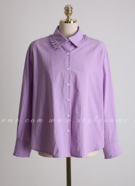 Loose Fit Frill Trim Collared Shirt, Styleonme