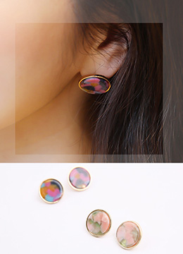 Mix Color Marble Earrings, Styleonme