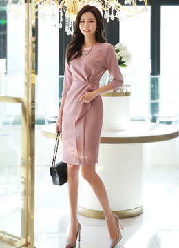 Feminine Shirred Waistline Dress, Styleonme