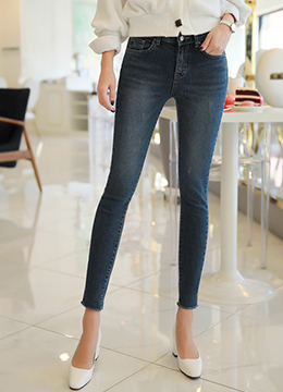 Deep Blue Wash Skinny Jeans, Styleonme
