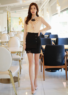 Three Button Lace Hem Detail Mini Skirt, Styleonme