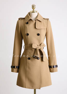 Belted Cuff Double-Breasted Trench Coat, Styleonme