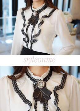 Black Lace Trim Ruffle Blouse, Styleonme