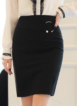Pearl Accent Ring Decoration Pencil Skirt, Styleonme