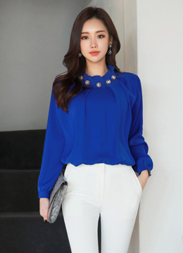 [Weekly Best]Luxury Pearl Neckline Blouse, Styleonme