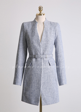 Slim Fit Belted Collarless Half Coat, Styleonme