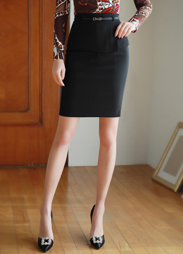 Layered Front Detail Belted H-Line Skirt, Styleonme