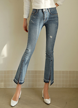 Unique Front Slit Boot-Cut Jeans, Styleonme