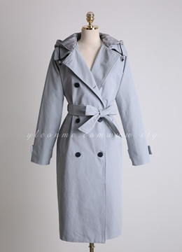 Check Print Hooded Double-Breasted Trench Coat, Styleonme