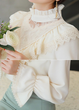 Lace Trim Frill High Neck Blouse, Styleonme