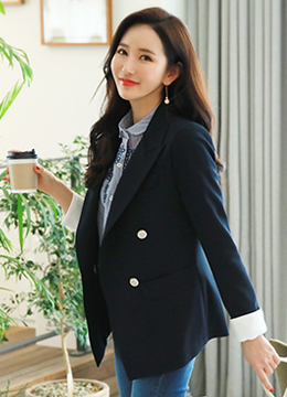 Fold-Up Sleeve Double-Breasted Tailored Jacket, Styleonme