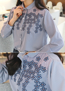 Flower Embroidered Pinstripe Collared Shirt, Styleonme