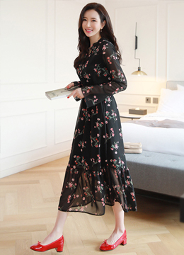 Floral Print Ribbon Tie Chiffon Long Dress, Styleonme