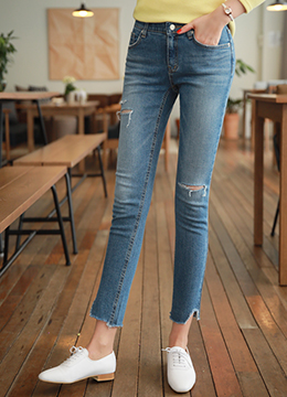 Uneven Hem Ripped Skinny Jeans, Styleonme