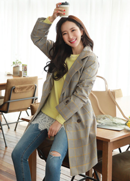 Color Check Print Loose Fit Double-Breasted Coat, Styleonme