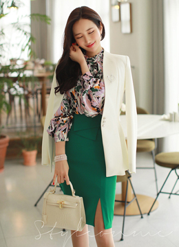Colorful Watercolor Print Ribbon Tie Blouse, Styleonme