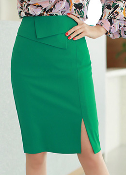 Cross-shaped Design Front Slit Pencil Skirt, Styleonme