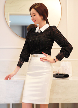 Scallop Lace Collared Blouse, Styleonme