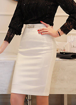 Basic Back Slit H-Line Skirt, Styleonme