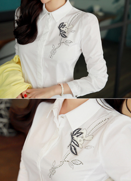 Hotfix Rhinestone Detail Collared Shirt, Styleonme