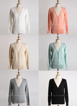 Spring Color V-Neck Cardigan, Styleonme
