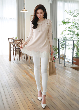 Sequined Lace Trim Long Knit Sweater, Styleonme