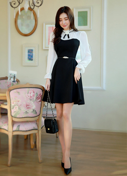 Brooch Set Romantic Chiffon Flared Dress, Styleonme