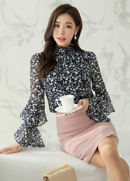 Floral Print Double Bell Sleeve Blouse, Styleonme
