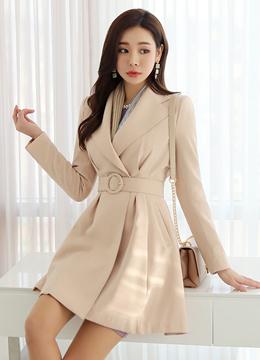 Belted Long Flared Jacket, Styleonme