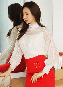 Jeweled See-through Lace Blouse, Styleonme