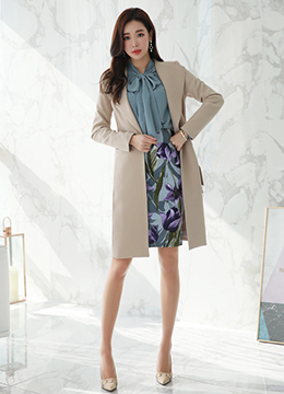 Wide Collar Belted Long Jacket, Styleonme