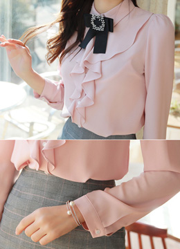 Ribbon Brooch Set Ruffle Collared Blouse, Styleonme