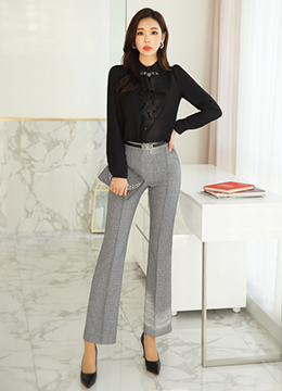 Pintuck Long Boot-Cut Slacks, Styleonme