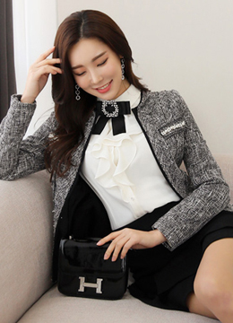 Black Trim Line Tweed Jacket, Styleonme