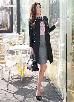 Double-Breasted Pearl Button Collarless Long Jacket, Styleonme