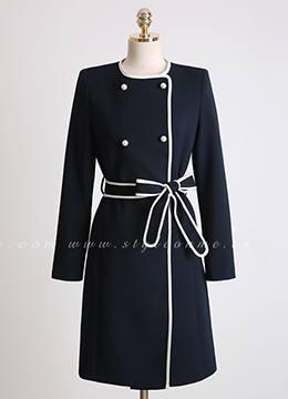 Contrast Color Line Double-Breasted Trench Coat, Styleonme