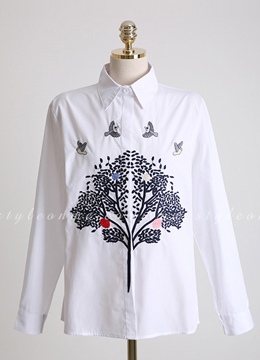 Tree Embroidered Collared Shirt, Styleonme