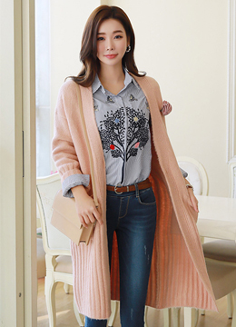 Spring Color Ribbed Long Cardigan, Styleonme
