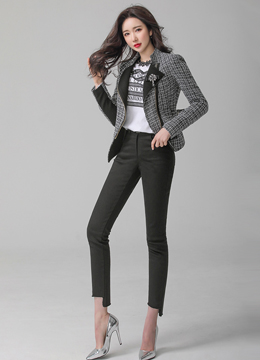 Tweed Zipper Rider Jacket, Styleonme
