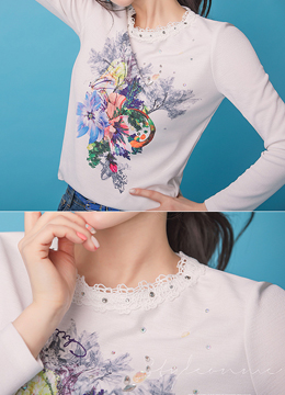 Jeweled Floral Graphic Print T-shirt, Styleonme