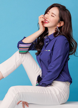 Pop Color Pinstripe Accent Collared Shirt, Styleonme