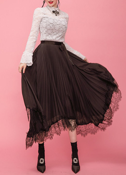 Asymmetrical Lace Hem Pleated Long Skirt, Styleonme