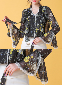 Floral Print Lace Trim Bell Sleeve Ribbon Blouse, Styleonme