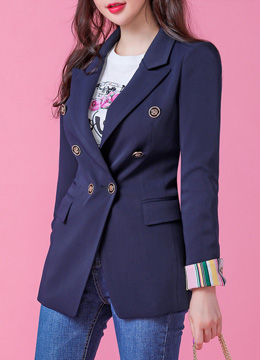 Pinstripe Fold-Up Sleeve Tailored Jacket, Styleonme