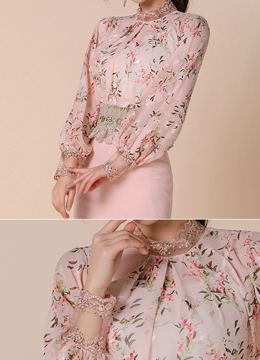 Sequined Lace Detail Floral Blouse, Styleonme