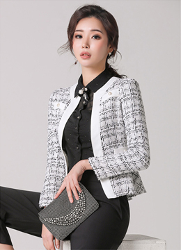 Pearl Button Peplum Tweed Jacket, Styleonme